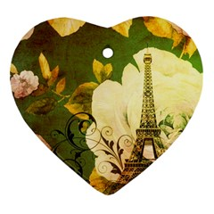 Floral Eiffel Tower Vintage French Paris Heart Ornament