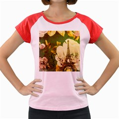 Floral Eiffel Tower Vintage French Paris Women s Cap Sleeve T Shirt (colored)