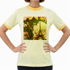 Floral Eiffel Tower Vintage French Paris Womens  Ringer T-shirt (Colored)