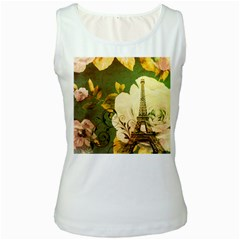 Floral Eiffel Tower Vintage French Paris Womens  Tank Top (White)