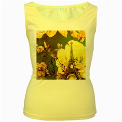 Floral Eiffel Tower Vintage French Paris Womens  Tank Top (Yellow)