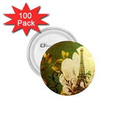 Floral Eiffel Tower Vintage French Paris 1 75  Button (100 Pack)