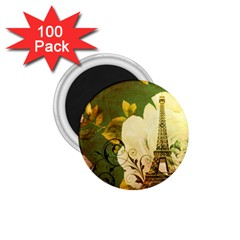 Floral Eiffel Tower Vintage French Paris 1.75  Button Magnet (100 pack)