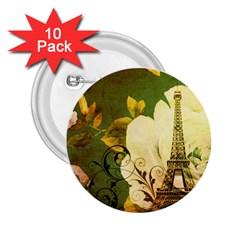 Floral Eiffel Tower Vintage French Paris 2.25  Button (10 pack)