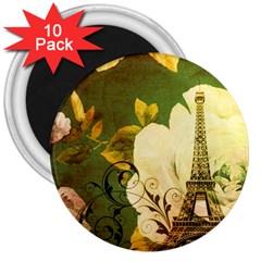 Floral Eiffel Tower Vintage French Paris 3  Button Magnet (10 Pack)