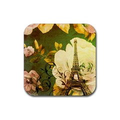 Floral Eiffel Tower Vintage French Paris Drink Coasters 4 Pack (square)