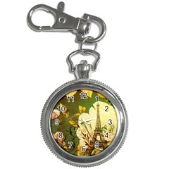 Floral Eiffel Tower Vintage French Paris Key Chain & Watch