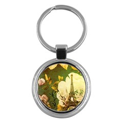 Floral Eiffel Tower Vintage French Paris Key Chain (round)