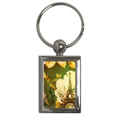 Floral Eiffel Tower Vintage French Paris Key Chain (Rectangle)