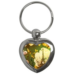 Floral Eiffel Tower Vintage French Paris Key Chain (Heart)