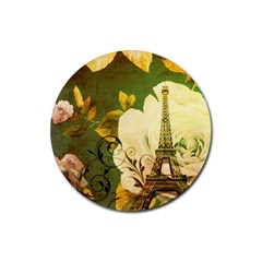 Floral Eiffel Tower Vintage French Paris Drink Coasters 4 Pack (Round)