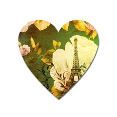 Floral Eiffel Tower Vintage French Paris Magnet (Heart)