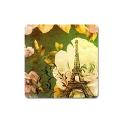 Floral Eiffel Tower Vintage French Paris Magnet (Square)