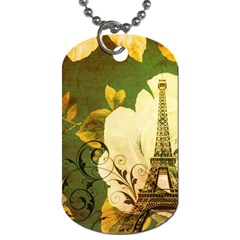 Floral Eiffel Tower Vintage French Paris Dog Tag (Two-sided)