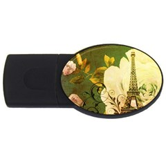 Floral Eiffel Tower Vintage French Paris 1GB USB Flash Drive (Oval)