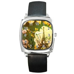 Floral Eiffel Tower Vintage French Paris Square Leather Watch