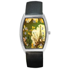 Floral Eiffel Tower Vintage French Paris Tonneau Leather Watch