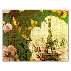 Floral Eiffel Tower Vintage French Paris Jigsaw Puzzle (rectangle)