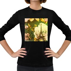 Floral Eiffel Tower Vintage French Paris Womens' Long Sleeve T Shirt (dark Colored)
