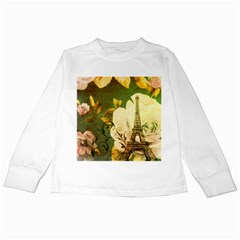 Floral Eiffel Tower Vintage French Paris Kids Long Sleeve T-Shirt