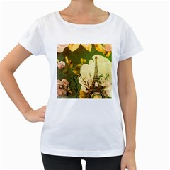 Floral Eiffel Tower Vintage French Paris Womens' Maternity T Shirt (white)