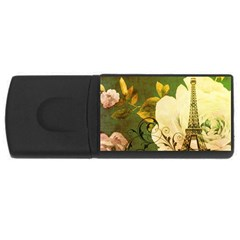 Floral Eiffel Tower Vintage French Paris 4GB USB Flash Drive (Rectangle)