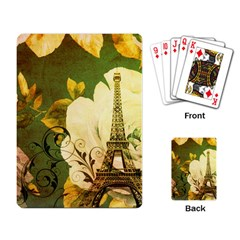 Floral Eiffel Tower Vintage French Paris Playing Cards Single Design