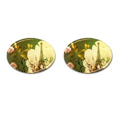Floral Eiffel Tower Vintage French Paris Cufflinks (Oval)