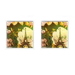 Floral Eiffel Tower Vintage French Paris Cufflinks (Square)