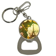 Floral Eiffel Tower Vintage French Paris Bottle Opener Key Chain