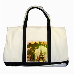 Floral Eiffel Tower Vintage French Paris Two Toned Tote Bag