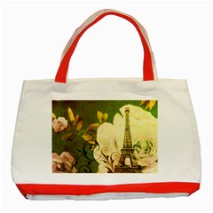 Floral Eiffel Tower Vintage French Paris Classic Tote Bag (Red)