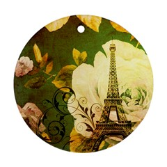 Floral Eiffel Tower Vintage French Paris Round Ornament (two Sides)