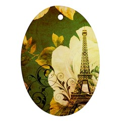 Floral Eiffel Tower Vintage French Paris Oval Ornament (Two Sides)