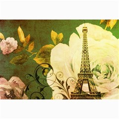 Floral Eiffel Tower Vintage French Paris Canvas 12  x 18  (Unframed)