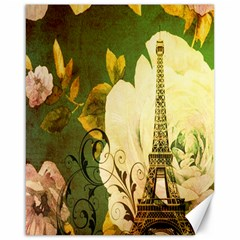 Floral Eiffel Tower Vintage French Paris Canvas 16  x 20  (Unframed)