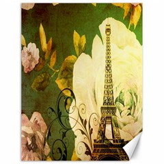 Floral Eiffel Tower Vintage French Paris Canvas 18  x 24  (Unframed)
