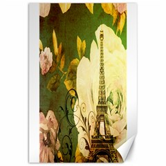Floral Eiffel Tower Vintage French Paris Canvas 20  x 30  (Unframed)