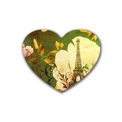Floral Eiffel Tower Vintage French Paris Drink Coasters 4 Pack (Heart)