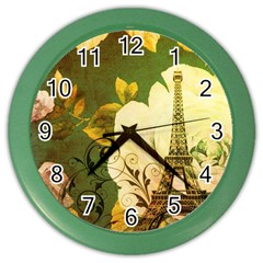Floral Eiffel Tower Vintage French Paris Wall Clock (Color)