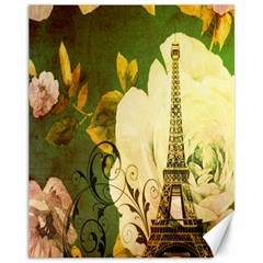 Floral Eiffel Tower Vintage French Paris Canvas 11  x 14  (Unframed)