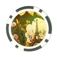 Floral Eiffel Tower Vintage French Paris Poker Chip