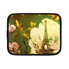 Floral Eiffel Tower Vintage French Paris Netbook Case (Small)