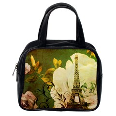 Floral Eiffel Tower Vintage French Paris Classic Handbag (One Side)