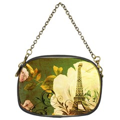 Floral Eiffel Tower Vintage French Paris Chain Purse (One Side)