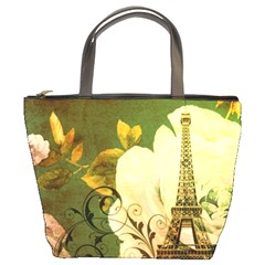 Floral Eiffel Tower Vintage French Paris Bucket Bag