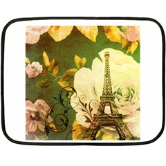Floral Eiffel Tower Vintage French Paris Mini Fleece Blanket (Two Sided)