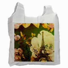 Floral Eiffel Tower Vintage French Paris Recycle Bag (two Sides)