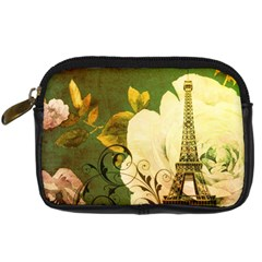 Floral Eiffel Tower Vintage French Paris Digital Camera Leather Case