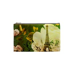 Floral Eiffel Tower Vintage French Paris Cosmetic Bag (small)